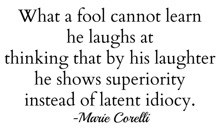 when a fool cannot laugh